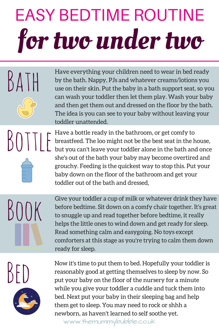 Easy bedtime routine for two children under two