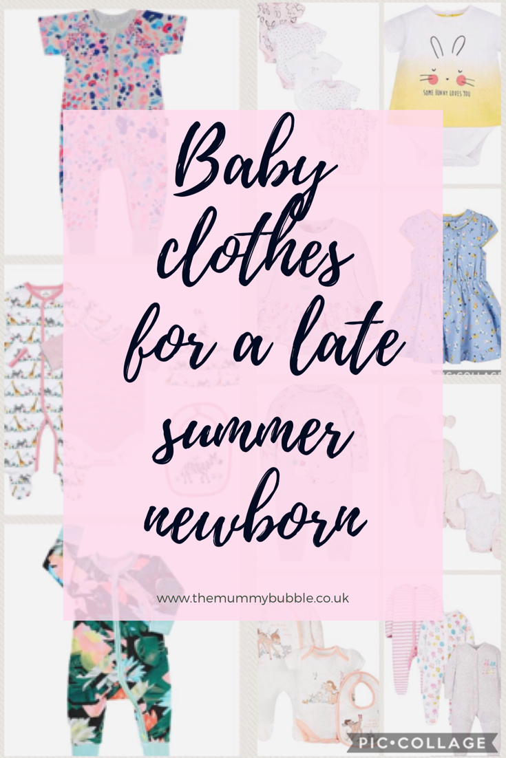 Newborn baby clothes for a late summer/early autumn newborn