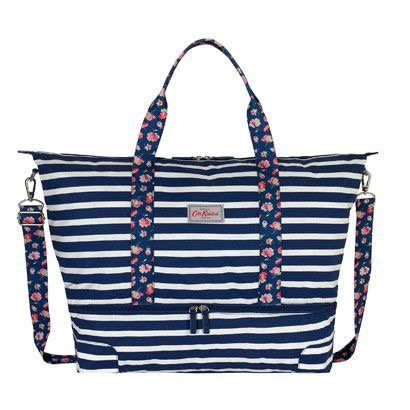 Cath Kidston foldaway travel bag in navy blue stripe