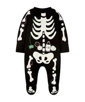 Skeleton baby onesie costume for Halloween
