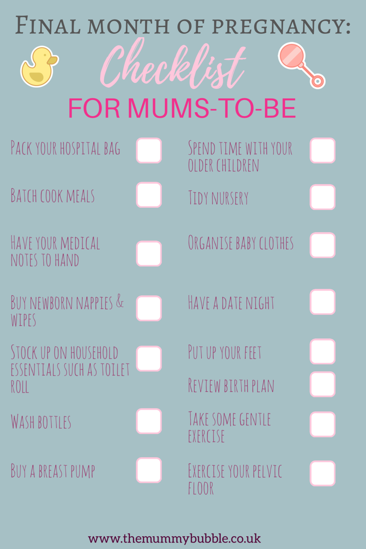 Checklist for mums-to-be in the final month of pregnancy #pregnancy #pregnant