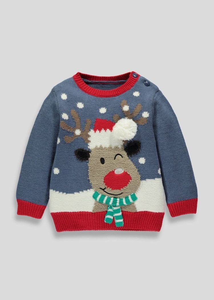 Blue Rudolph Christmas jumper from Matalan