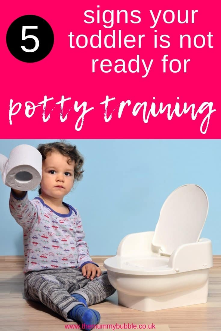 5 signs your toddler is not ready for potty training - helpful tips to show parents when to stop potty training. If you're unsure if your child is old enough to try potty training, give this a read.