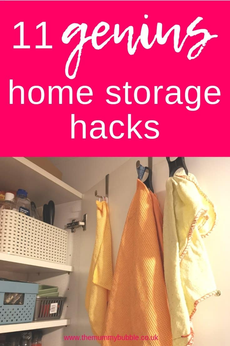 Genius home storage hacks - brilliant products and tips for storing clothes, cleaning products and kitchen stuff.
