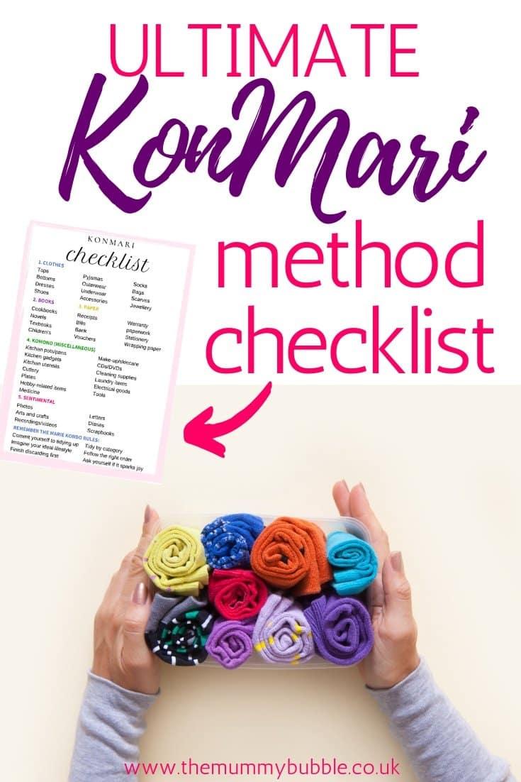 KonMari method checklist for following Marie Kondo's Tidying Up
