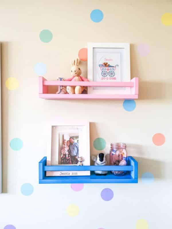 IKEA Bekvam storage shelf used as decoration for nursery