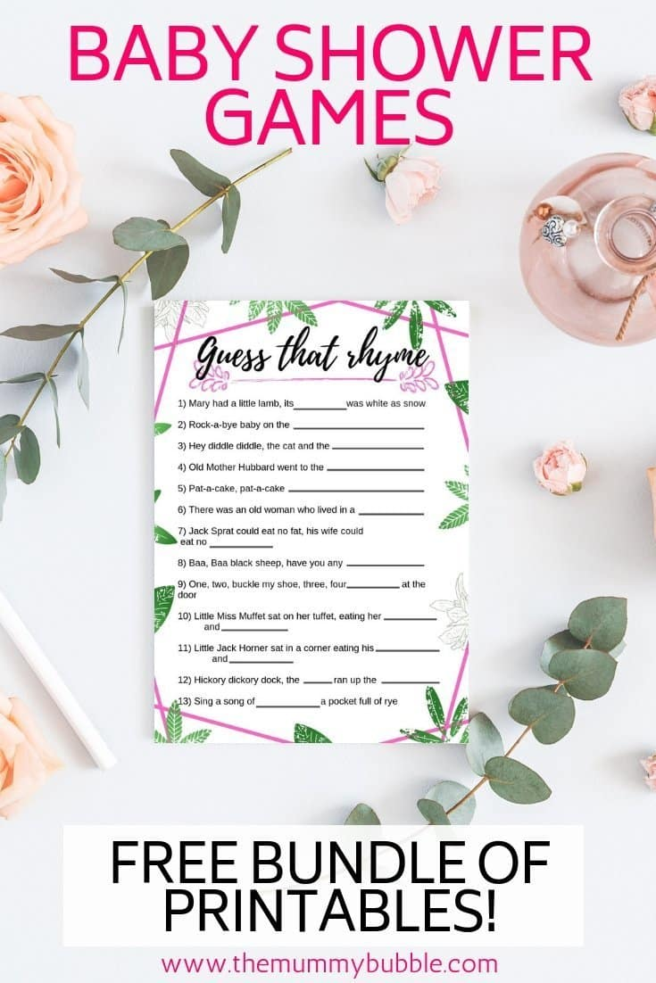 Free baby shower game printables
