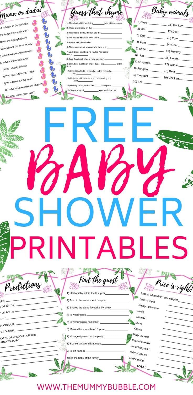 Fun baby shower printable games