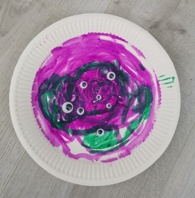 Halloween monster paper plate