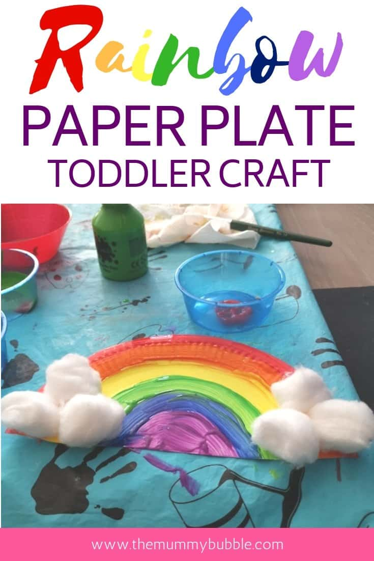 Rainbow paper plate easy toddler craft