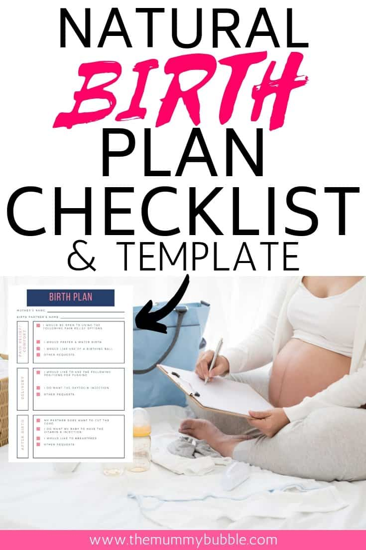 Natural birth plan checklist and template
