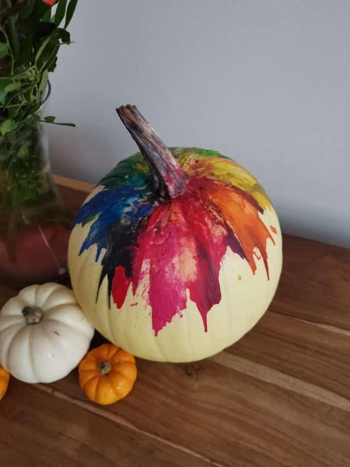 No-carve rainbow crayon Halloween pumpkin decoration idea