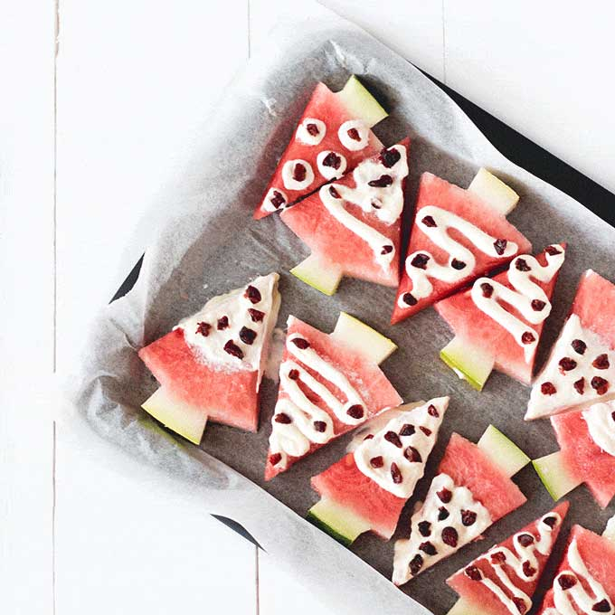 Watermelon Christmas tree treats for babies and toddlers