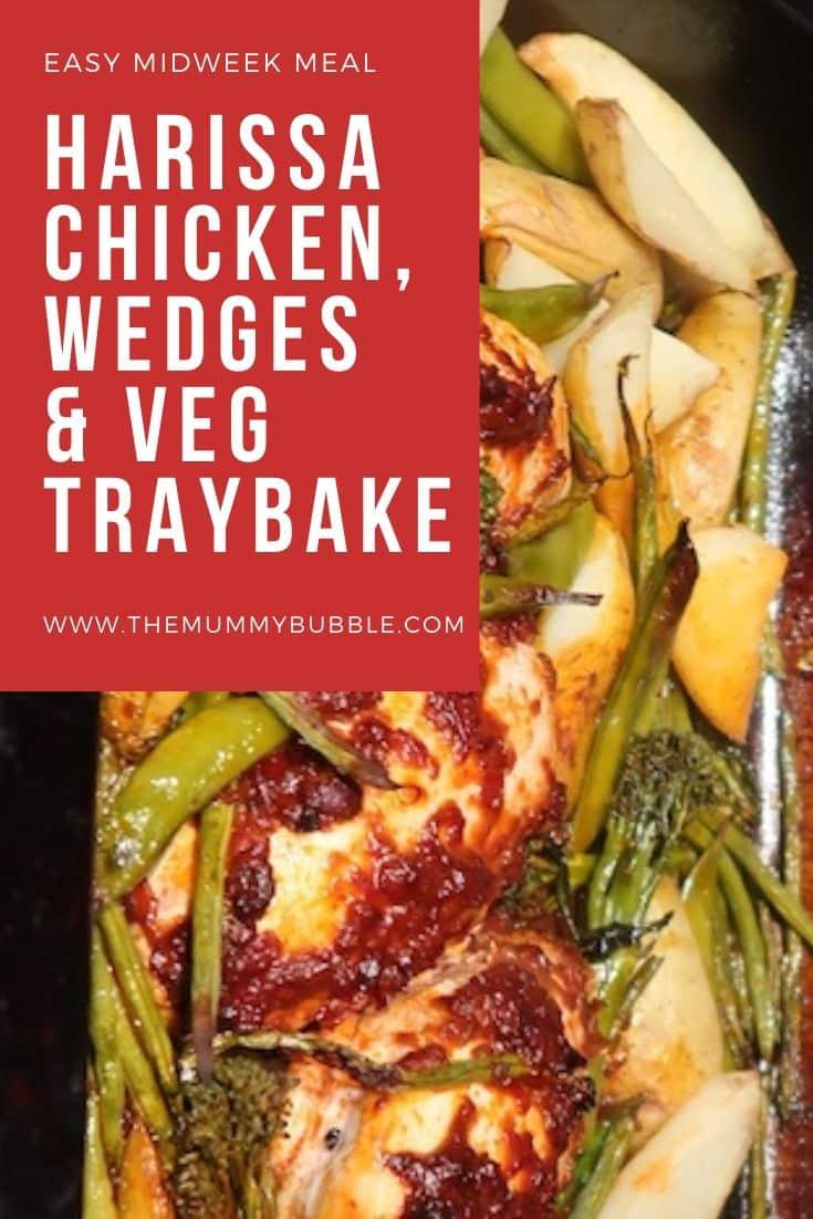 Harissa chicken, potato wedges and veg traybake