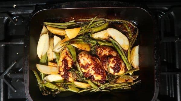Harissa chicken and green veg