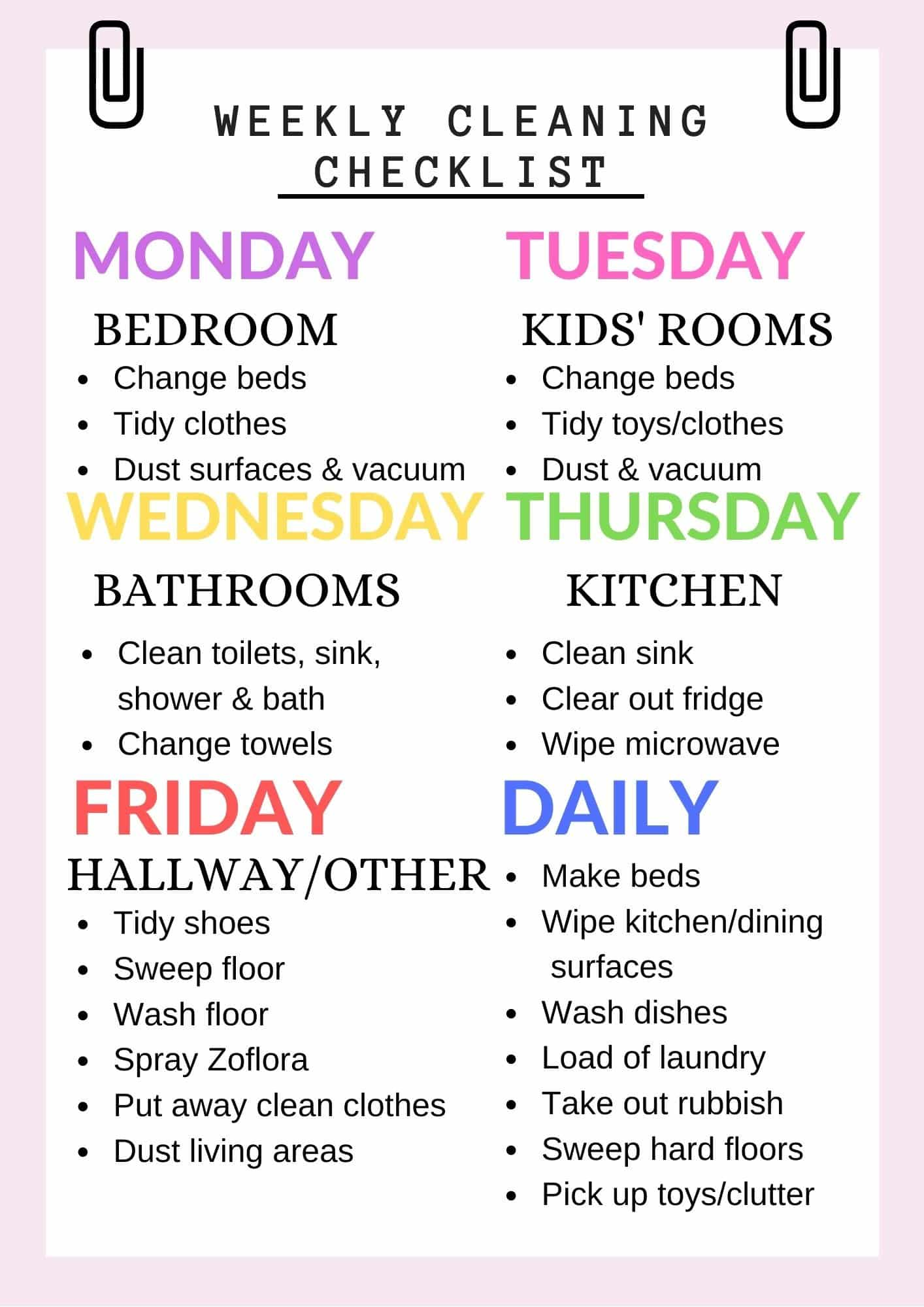 Weekly cleaning list with daily focus