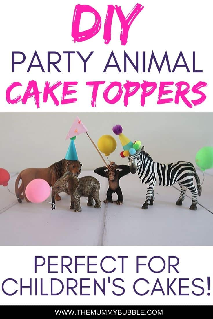 DIY party animal hats for cake toppers