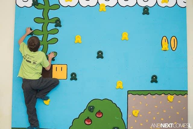 Playroom design inspiration - a Super Mario Bros climbing wall