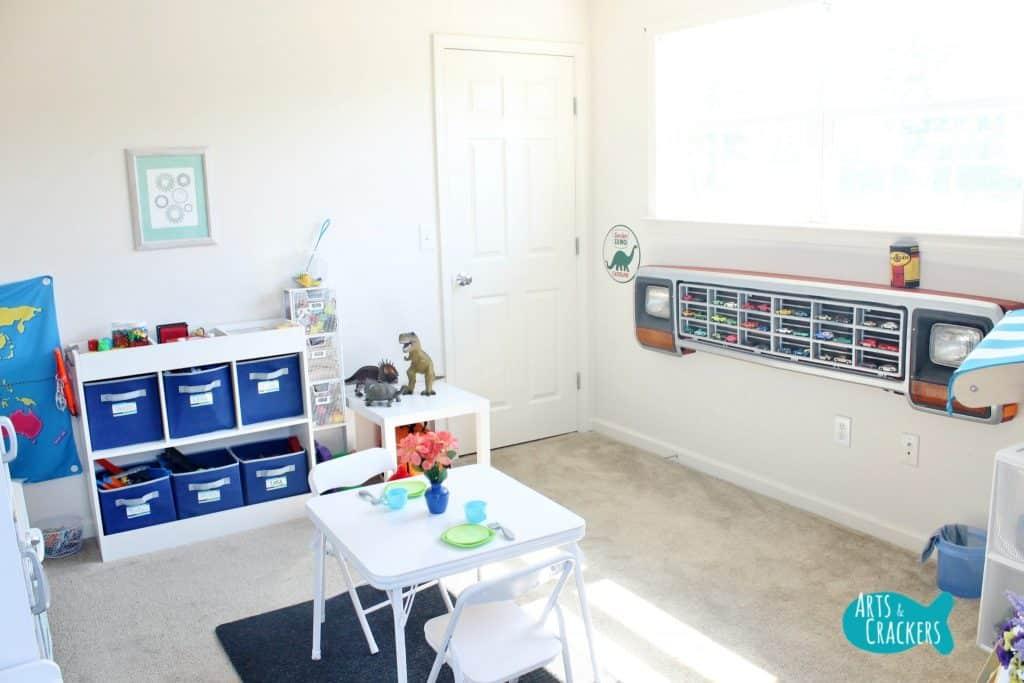 Playroom storage and organisation