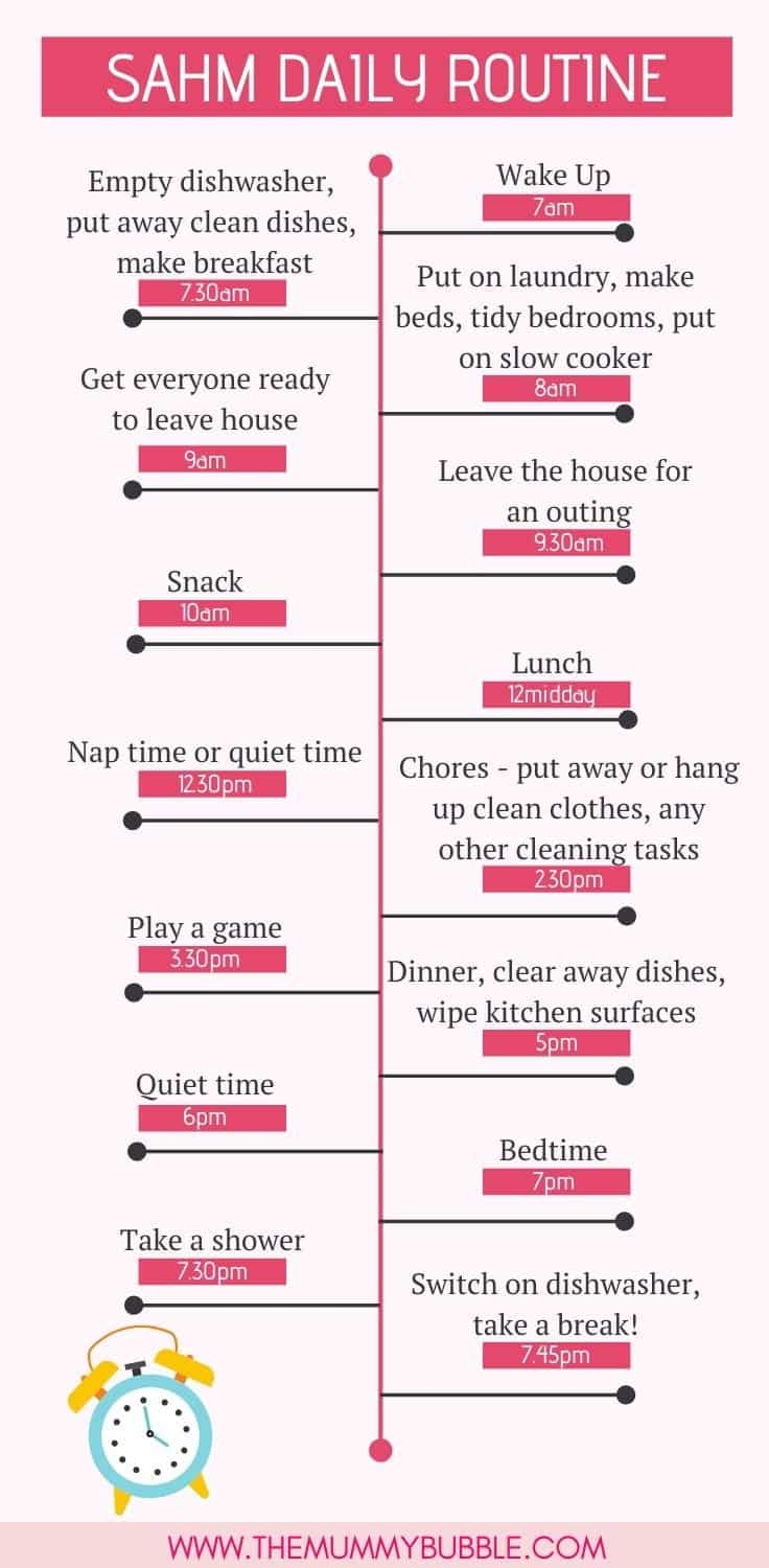 SAHM daily routine - the perfect schedule for a stay at home mum