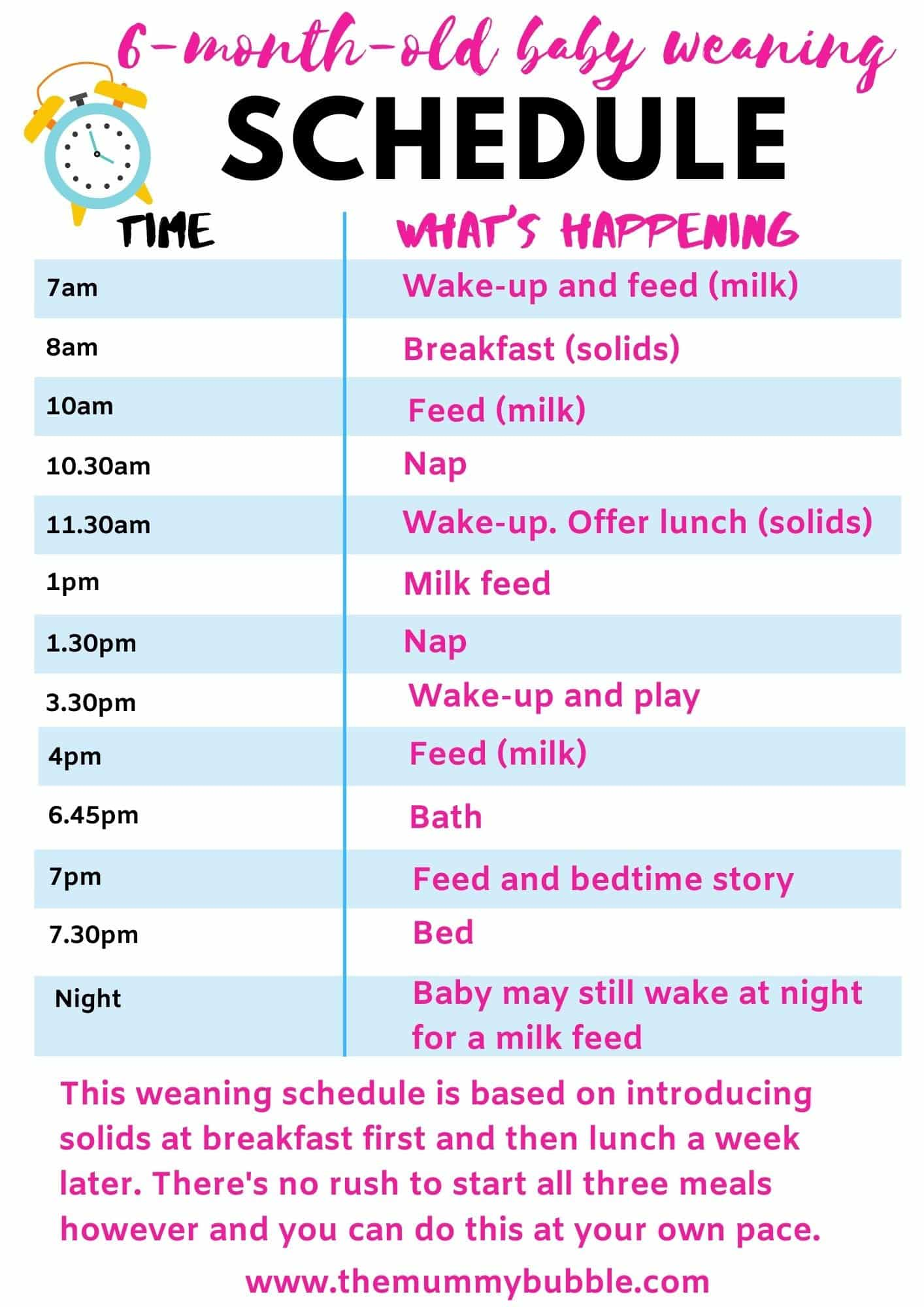 6-month-old baby weaning schedule