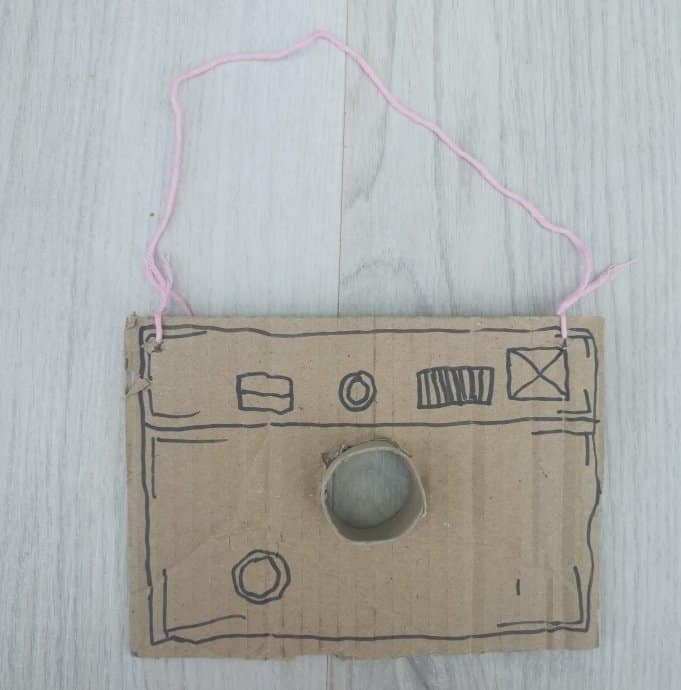 Cardboard camera craft for toddlers