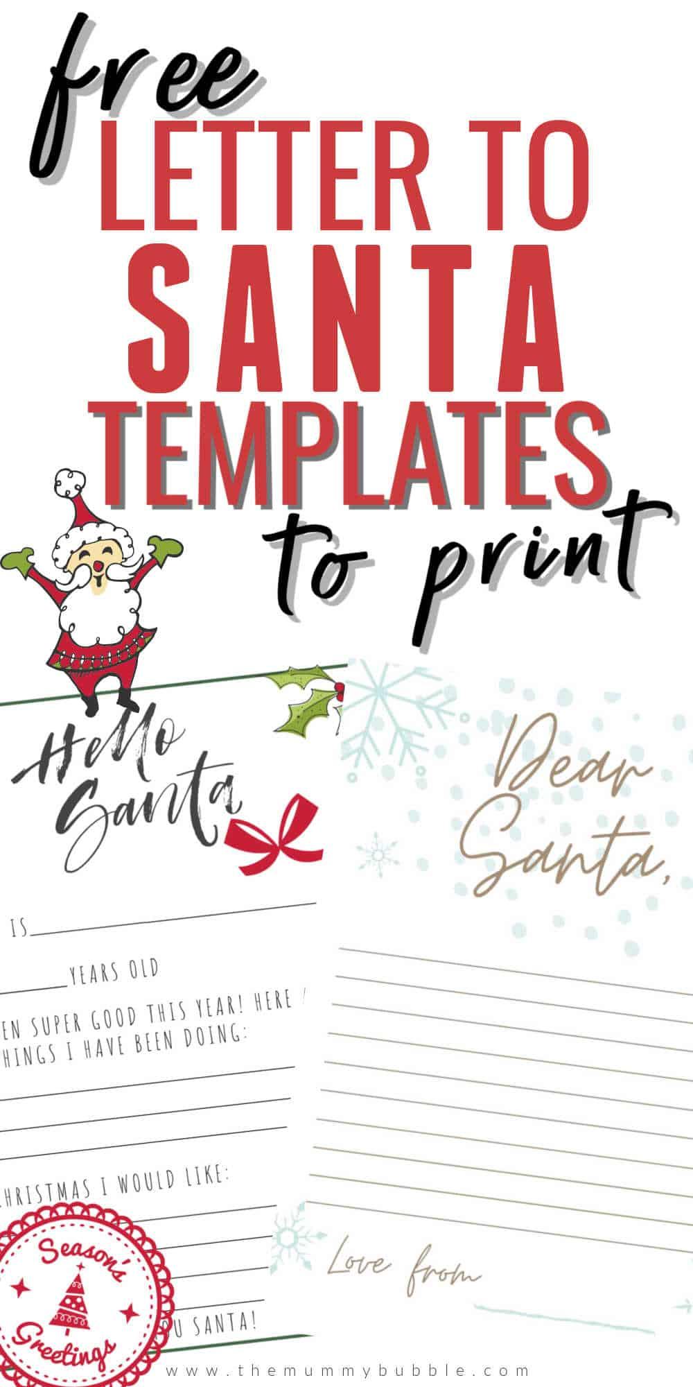 Free Letter To Santa Pdf Templates Plus Santa S Address The Mummy Bubble